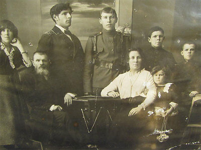 Antique B&W Large Photo Family Of 8 Sons In Uniforms