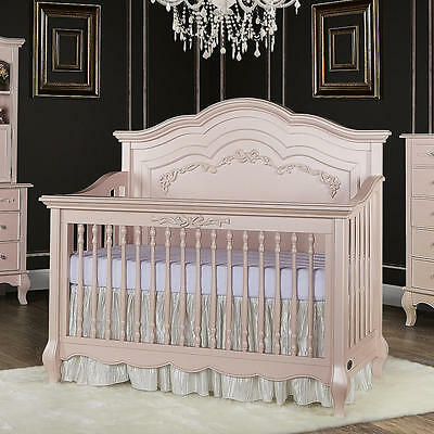 Evolur Aurora 5-in-1 Convertible Crib - Blush Pink Pearl