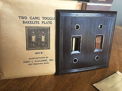 BROWN BAKELITE 1940 New Old Stock 2 Gang Toggle Plate Light Switch Cover Fancy