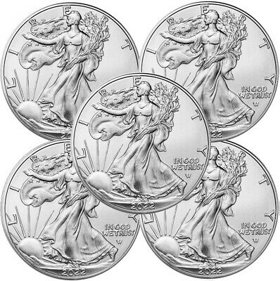 Lot of 5 - 2019 1 oz .999 American Silver Eagle BU $1 Coins