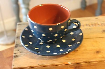 Vintage Ex.Large Dark Blue & White Spotty Cup & Saucer – Torquay Ware – HUGE! –