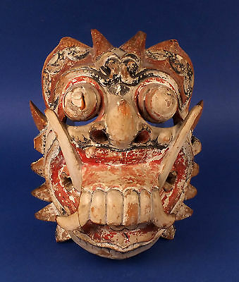 Splendid Antique Thai Carved Wood Mask With Teeth