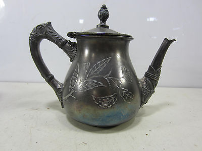 Antique Rogers Smith Co. Silverplated Tea Pot w/Etched Flower Design