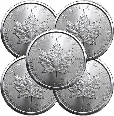Lot of 5 - 2018 1 oz Canadian .9999 Silver Maple Leaf $5 Coins SKU# 399399