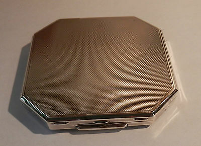 Vintage - Solid Silver Engine Turned Art Deco Powder Compact