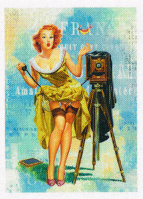 Retro Pin Up 50`s Aufnäher Vintage Nostalgie Applikation Stoffbild - 315