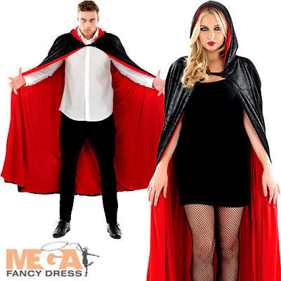 Black & Red Long Hooded Cape Adults Fancy Dress Halloween Mens Ladies Costume