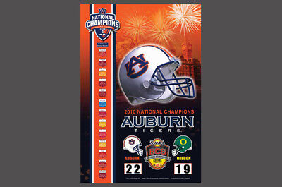 Rare AUBURN TIGERS 2010 NCAA National Football CHAMPIONS Commemorative POSTER
