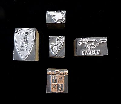 FIVE (5) ANTIQUE, Rare, Wood + Metal Printer Blocks Featuring CAR BRAND SYMBOLS