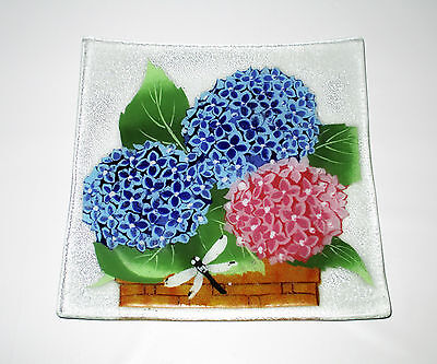 """Fusion Art Glass 10"""" Square Plate Blue Pink Hydrangeas Dragonfly Signed Fused"""