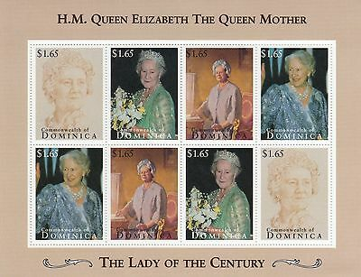 (70804C) Dominica MNH Queen Mother Lady of the Century minisheet unmounted mint