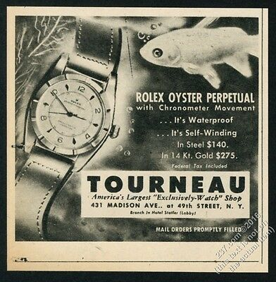 1950 Rolex Oyster Perpetual chronometer watch under water photo vintage print ad