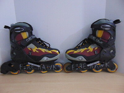 Inline Roller Skates Mens Size 11 Mongoose Fire Hawk Black Red Grey Yellow
