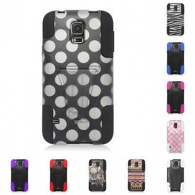 For Samsung Galaxy S5 Case Slim Armor Hard Soft Dual Layer Cover With Stand