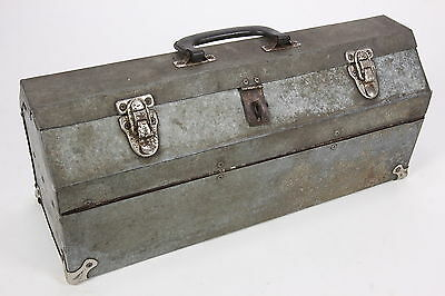 Home-Made Galvanized Tin Portable Tool Box Carrier W Lift Out Tray Caddy Vintage