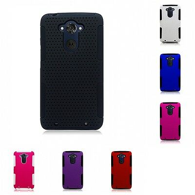 For Motorola Droid Turbo Case Hard Soft Dual Layer Slim Thin Rugged Mesh Cover
