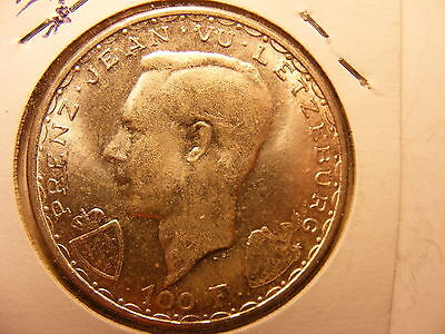 Luxembourg Silver 100 Francs, 1946, 600th Anniversary - John the Blind, UNC