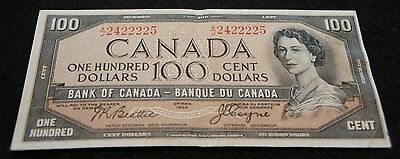 1954 Bank of Canada 100 Dollar Note in Extremely Fine Condition NICE OLD Note!