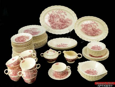 Vintage 80 pc Set Taylor Smith TS&T Pink Castle Transferware Dinnerware L2A