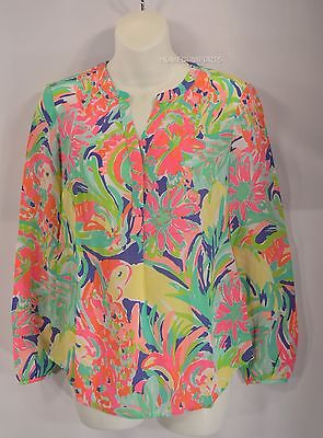 7223383d033ba New Lilly Pulitzer size XXS CASA BANANA Stacey TOP 100% Silk Blouse Floral  NWT