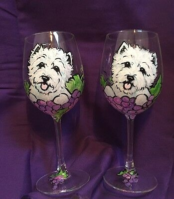 West Highland White terrier Hand Painted Wine Glasses Qty 2 Washable