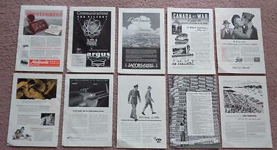 Lot Of 10 - 1940's (World War 2) WWII War Effort / Military Product Print Ads