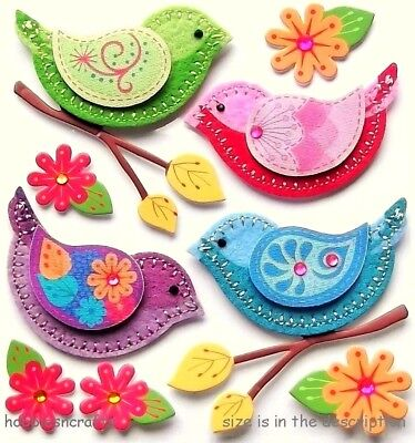 Ek Success Jolee's Boutique 3-D Gemstone Stickers -  Stitched Colourful Birds