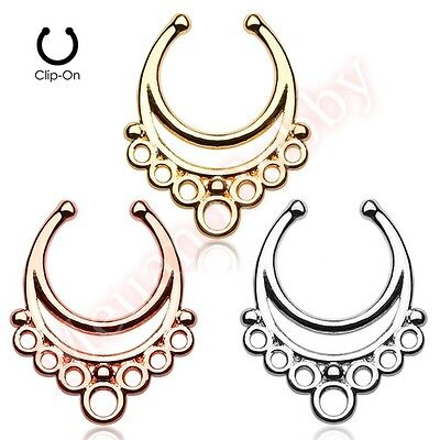 Fancy Loop Non Piercing Clip On Septum Nose Ring Hanger