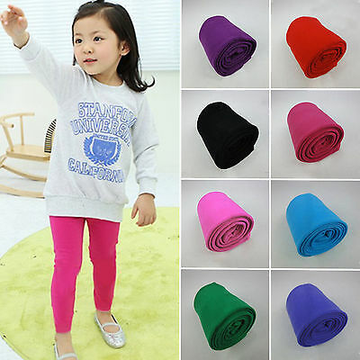Baby Kids Girls Cotton Solid Slim Skinny Pants Lined Stretchy Trousers Leggings