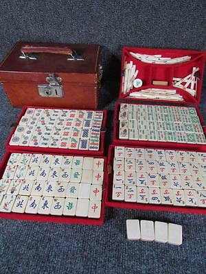 ANTIQUE CHINESE 148pc. MAHJONG GAME SET in LEATHER CASE