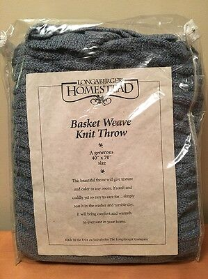"Longaberger Homestead Basket Weave Knit Throw - 40"" x 70"" Blue"