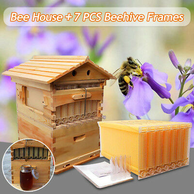 7PCS Auto Honey Hive Beekeeping Frames + Beehive Cedarwood Super Brood Box
