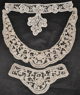 Antique Lace Princess Tape Lace Collars Lot Of 3  Wearable Fashion Collars