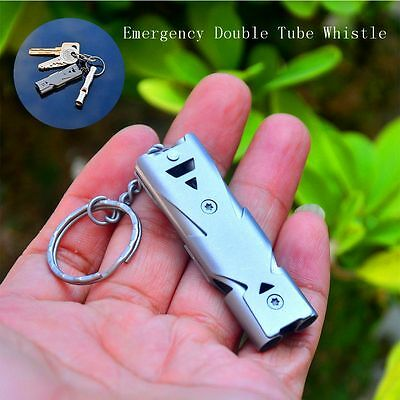 Stainless Steel Double Tube Survival Whistle Outdoor Camping Apito Tactical Tool