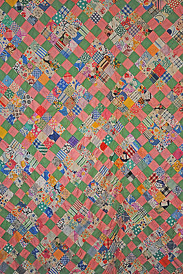 Vintage Quilt Top Postage Stamp With 16 Patch 1930 Pieced Hand Sewn Patchwork