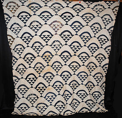 ANTIQUE QUILT TOP BASKET BLUE WHITE 1920 PIECED COTTON PATCHWORK 92 x 78