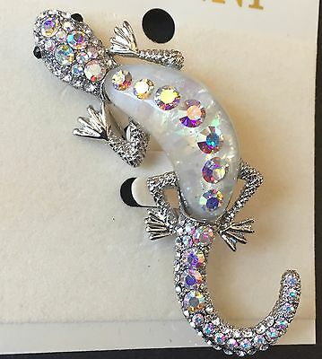 New Rucinni Lizard Pin Authentic Swarovski Crystals Jeweled Gecko Brooch NIP