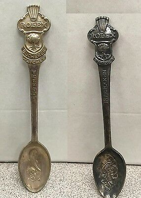 Vintage ROLEX Bucherer Silver Souvenir SPOONS - Interlaken & Lucerne - LOT OF 2
