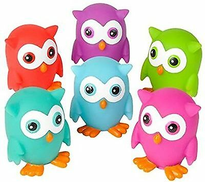 Mini Colorful Rubber OWLS (Pack of 12)  - Squirt Bath Time Toys