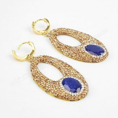 1Pair CZ Paved Oval Lapis Lazuli Snakeskin Leather Gold Plated Earrings HJA557