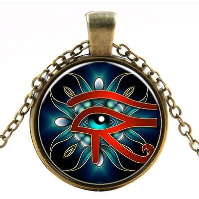 Vintage Egyptian EYE OF HORUS Cabochon Glass Bronze Pendant Necklace Neckchain ;