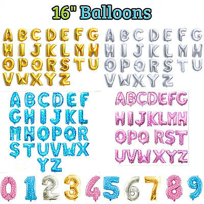 "Gold Silver Pink Blue 16"" Alphabet Letter Number Foil Balloon Wedding Party New"