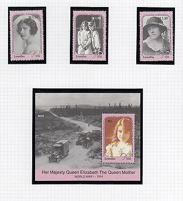(74858) Lesotho MNH Queen Mother 90th minisheet + stamps 1990 u/m