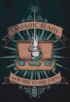 "FANTASTIC BEASTS TITLE & WHERE TO FIND THEM CANVAS BANNER 13"" x 18""   #sfeb17-96"