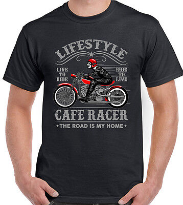 Lifestyle Cafe Racer Mens Motorbike T-Shirt Biker Bike Motorcycle Indian Harley