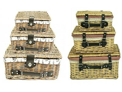 e2e Wicker Lidded Hamper Storage Basket with Leather Handle & Cotton Lining