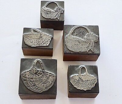 FIVE (5) ANTIQUE, Rare, Wood + Metal Printer Block BASKETS: EASTER or  SPRING!