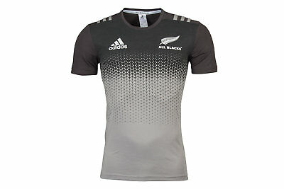 adidas Mens New Zealand All Blacks 2017/18 Players Cotton Rugby T-Shirt Top Tee