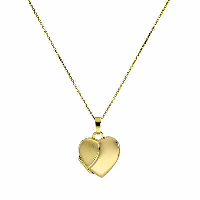 9ct Gold Engravable Two Tone Heart Locket on Chain 16-20 Inches Valentines Heart