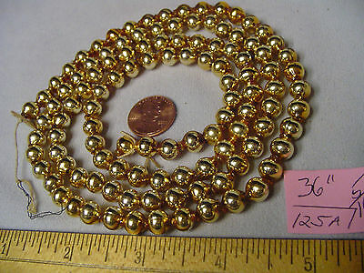 """Christmas Garland Mercury Glass Antique Gold 36"""" Long 5/16"""" Beads #125A Vintage"""